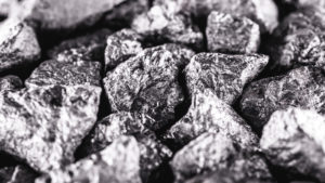 A pile of antimony stones.
