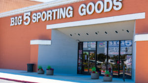 A photo of the exterior of a Big 5 Sporting Goods store in Redwood City, California.