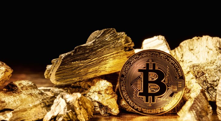 A Bitcoin (BTC) coin surrounded by gold.