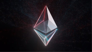 A stylized version of the Ethereum logo