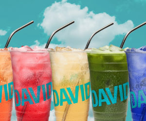 Colorful glasses of iced tea beverages