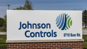 A sign for a Johnson Controls location showing the logo and address of the company.