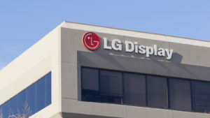he LG logo seen at LG Display America Inc campus in San Jose, California.