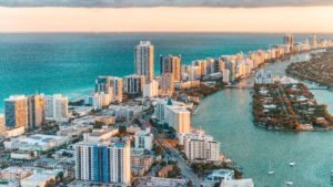 A helicopter-view of the Miami skyline.