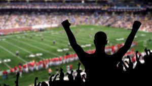 A silhouette of a fan cheering with arms raised at an NFL game.