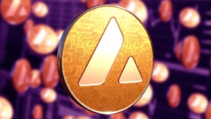 gold Avalanche (AVAX) cryptocurrency concept coin