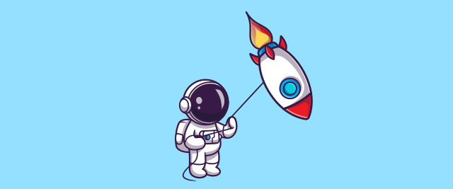 An illustration of an astronaut holding a rocket by a string like a kite.