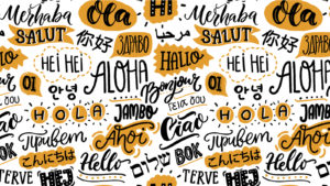 """The word """"hello"""" is written in a variety of languages in a handwritten style."""
