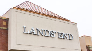 The logo for Lands' End is displayed on a retail storefront.