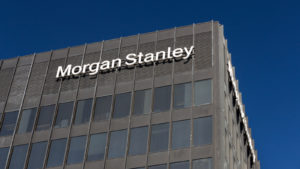The logo for Morgan Stanley is displayed on the side of a building.