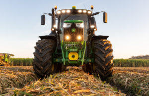 Deere equipment in harvested field