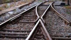 Railroad tracks with a junction
