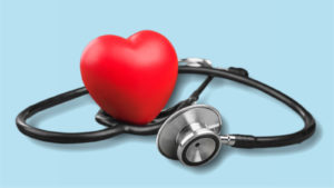 a stethoscope and a stylized heart on a blue background