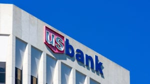 The logo for U.S. Bancorp's U.S. Bank is displayed on the side of a building.