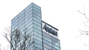 The logo for Appian (APPN) is seen on the side of the company's headquarters.