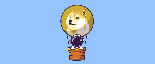 Illustration of an astronaut in a hot air balloon with a Dogecoin-themed balloon.