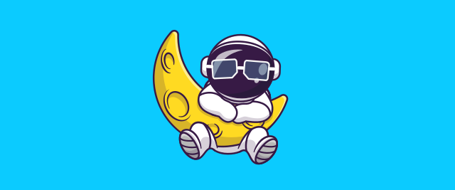 An illustration of an astronaut wearing sunglasses hanging off a moon-like arc.