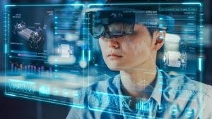 industrial factory chief engineer wearing AR headset