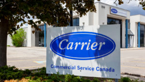 Carrier Sign outside of Carrier Commercial Service office Mississauga, Ontario, Canada