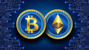 A concept image of a Bitcoin and an Ethereum token next to each other on a blue background. Bitcoin price prediction.