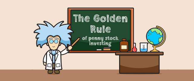 """An illustration of a scientist pointing to """"The golden rule of penny stock investing""""."""