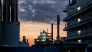 A LyondellBasell production plant in Wesseling, Germany is seen at dusk.