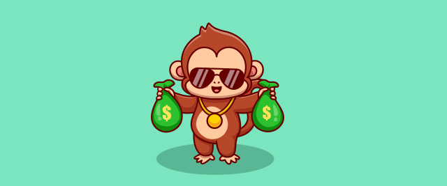 An illustration of a monkey holding two green bags with cash signs on them.