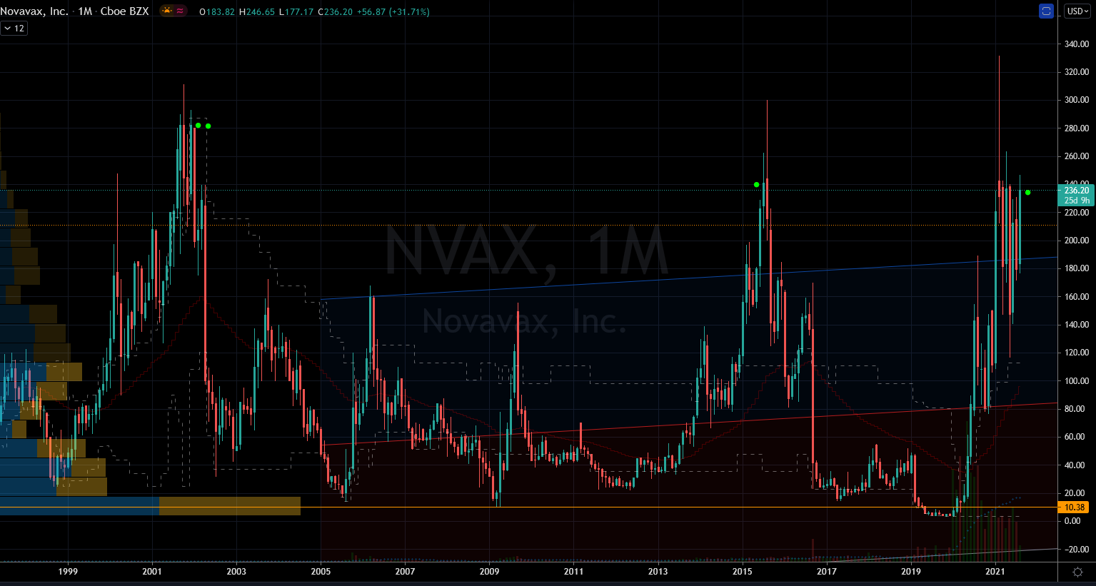 Novavax (NVAX) Stock Chart Showing Monthly Highest Monthly Closes