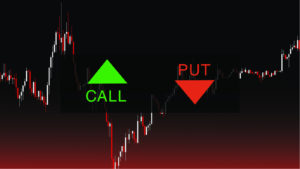 """A representation of a stock chart with a green arrow pointing up with the word """"call"""" and a red arrow pointing down with the word """"put""""."""