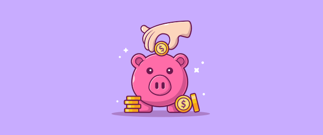 Illustration of a hand holding a coin over a piggy bank with several other coins stacked next to it.