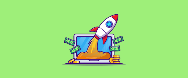 An illustration of a rocket launching out of a screen with money stacked next to it.
