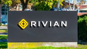 Rivian sign outside the company's HQ in Silicon Valley