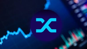 The logo for the Synthetix cryptocurrency network is shown against a graph representing price change over time.