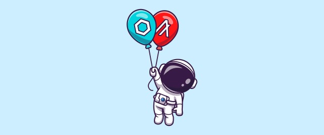 An illustration of an astronaut holding onto balloons with the logos for Algorand and Chainlink.