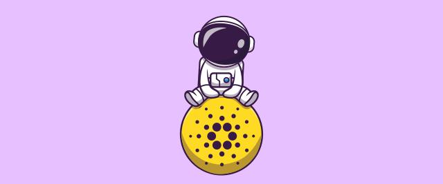An illustration of an astronaut sitting atop a Cardano token.