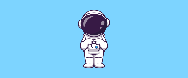 An illustration of an astronaut holding their forefingers together in a shy manner.