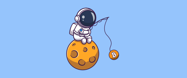 An illustration of an astronaut sitting on the moon holding a fishing rod with the logo for <a href=