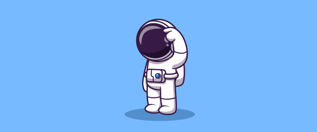 An illustration of an astronaut scratching their forehead.