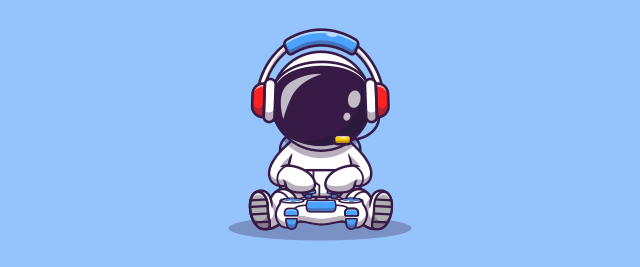 An illustration of an astronaut wearing a headset and holding a video game controller.