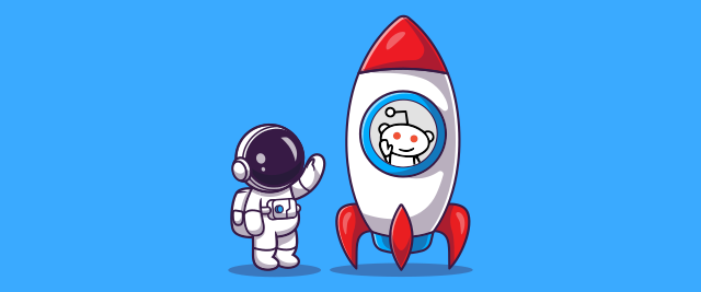 An illustration of a an astronaut waving to the Reddit alien mascot in a rocket ship.