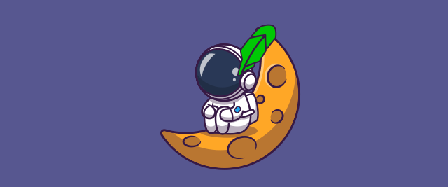 An illustration of an astronaut sitting on a moon-like wedge wearing a feather in the shape of the Robinhood logo.