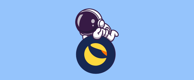 An illustration of an astronaut laying on their stomach on top of the icon for the Terra cryptocurrency.
