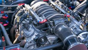 A close-up photograph of a car engine.