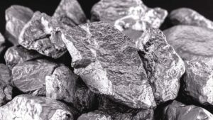 A close-up shot of a cobalt pile in front of a black background.