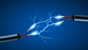 A concept image of electricity flowing between two disconnected electric cables.