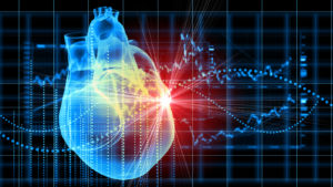 Image of a virtual heart in front of a diagram representing IRTC stock.