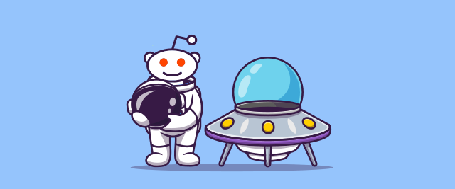 An illustration of the Reddit alien mascot in a spacesuit next to a flying saucer.