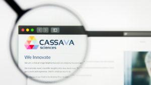 Cassava Sciences Inc logo visible on display screen