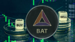 """Basic Attention Token (BAT-USD) concept coin in front of a stack of cryptos and two dice that say """"buy"""" and """"sell"""""""