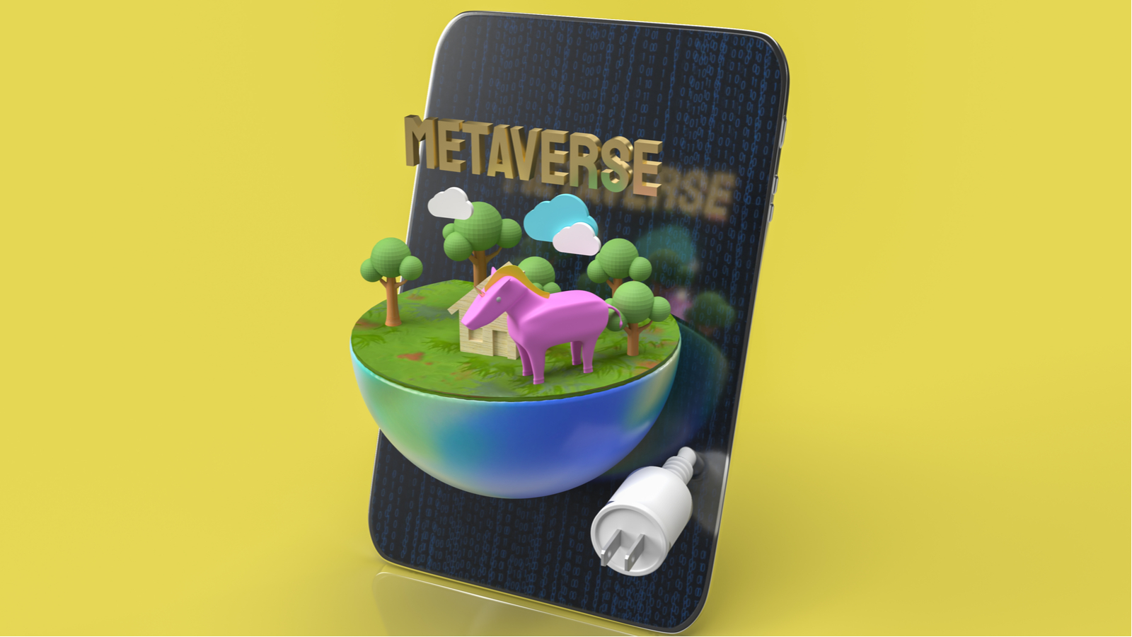 metaverse popping out of mobile phone concept